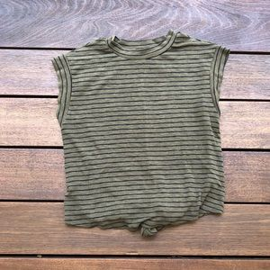 Green and Black Striped Shirt